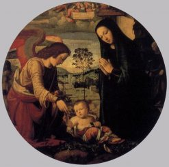 Adoration of the Child with Angel | Mariotto Albertinelli | Oil Painting