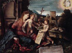 Madonna with Child and Saint John the Baptist   Moretto da Brescia   Oil Painting