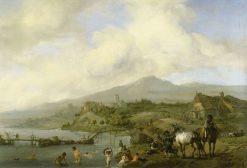 Landscape with River and Bathers | Philips Wouwerman | Oil Painting