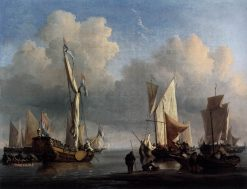 Ships off the Coast | Willem van de Velde the Younger | Oil Painting