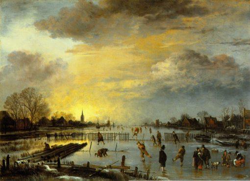 Winter Landscape with Skaters   Aert van der Neer   Oil Painting