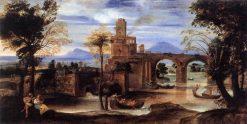 Roman River Landscape with Castle and Bridge | Annibale Carracci | Oil Painting