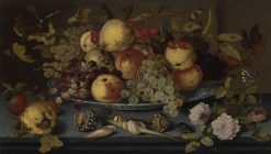 Still Life with Dish of Fruit   | Balthasar van der Ast | Oil Painting