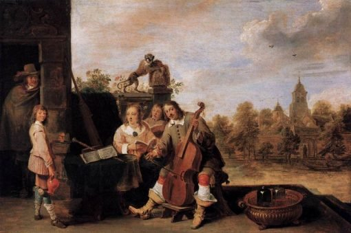 The Painter and His Family   David Teniers II   Oil Painting