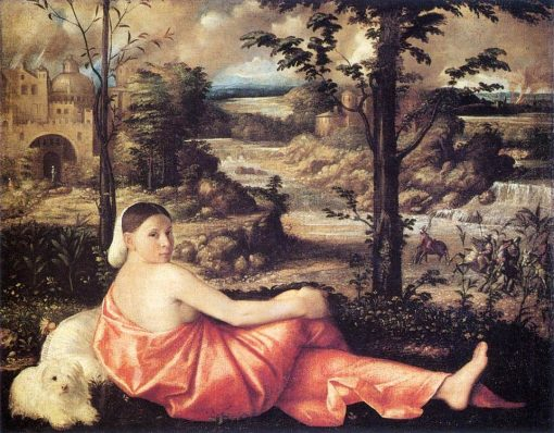 Woman Reclining in a Landscape | Giovanni Cariani | Oil Painting