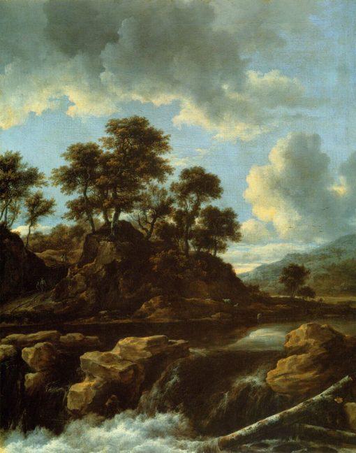 The Waterfall   Jacob van Ruisdael   Oil Painting