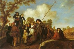 An Itinerant Ballad Reader on a Bridge | Jan Miense Molenaer | Oil Painting
