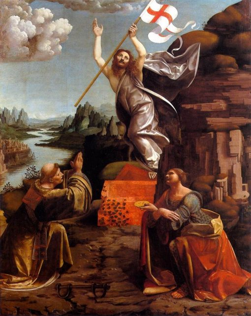 Resurrection of Christ with Saints Leonardo and Lucy   Marco d' Oggiono   Oil Painting