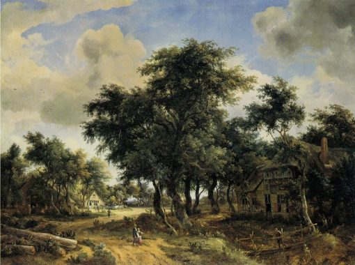 A Village Street with Trees | Meindert Hobbema | Oil Painting