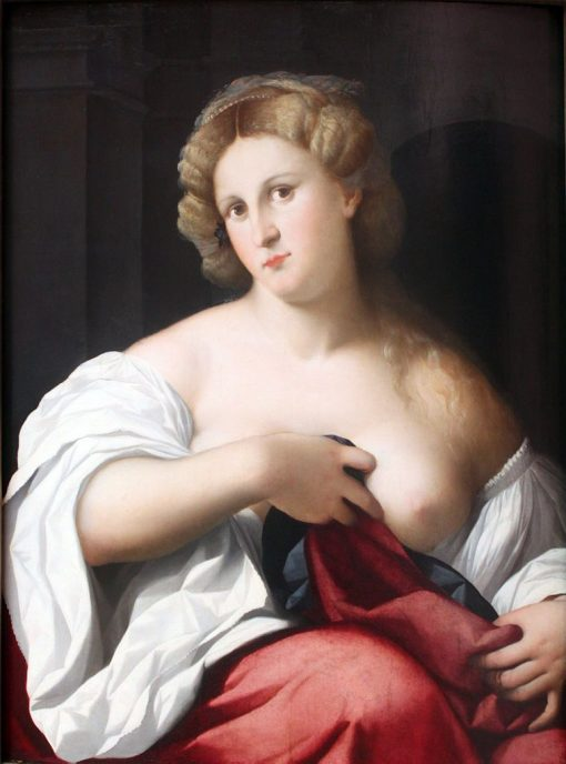 Portrait of a Young Woman with Bare Breast | Palma il Vecchio | Oil Painting