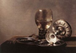 Still Life with Wine Glass and Silver Bowl | Pieter Claesz | Oil Painting