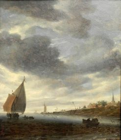 Binnen Lake with Sailing Boat(also known as Binnengewasser mit Segelboot) | Salomonsz. van Ruysdael | Oil Painting