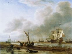 The Frigate 'Amsterdam' at Den Helder | Simon de Vlieger | Oil Painting