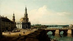 Dresden from the Left Bank of the Elbe above the Old Town Bridge | Bernardo Bellotto | Oil Painting