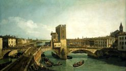 The Old Ponte delle Navi in Verona | Bernardo Bellotto | Oil Painting
