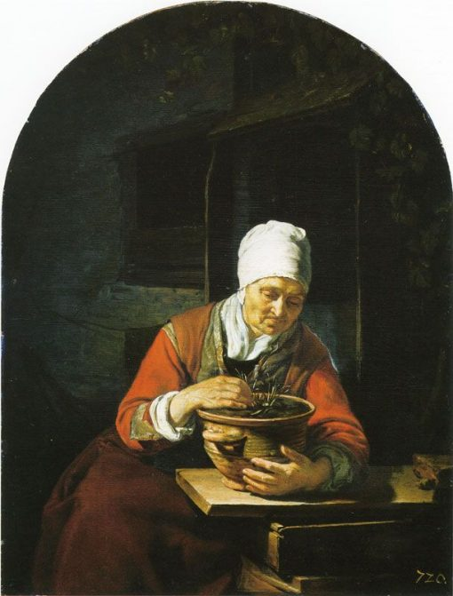 Old Woman Holding a Flower Pot   Frans van Mieris the Elder   Oil Painting