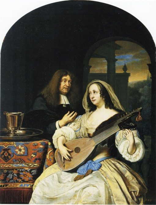 Portrait of Francois de le Boe Sylvius with His Wife   Frans van Mieris the Elder   Oil Painting