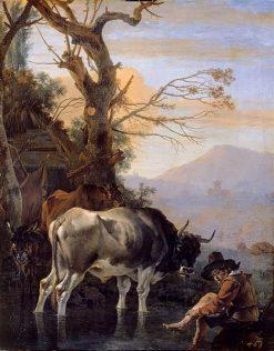 Landscape with a Cowherd   Jan Asselijn   Oil Painting