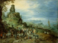 A Fish Market with the Calling of Peter and Andrew | Jan Brueghel the Elder | Oil Painting