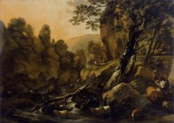 Herdsmen and Herds at a Waterfall | Nicolaes Berchem | Oil Painting