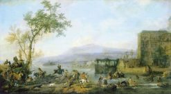 Stag Hunt near a River | Philips Wouwerman | Oil Painting