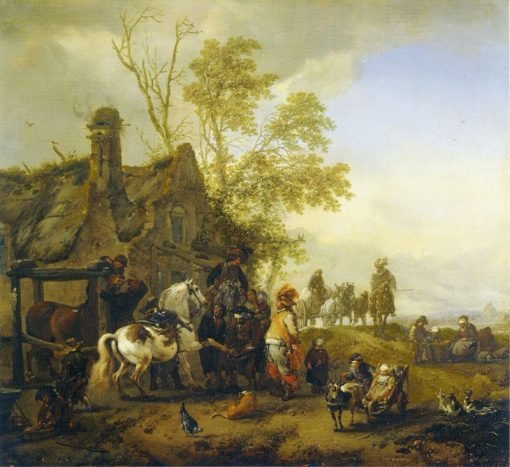 A Farrier Shoeing a Piebald Horse | Philips Wouwerman | Oil Painting
