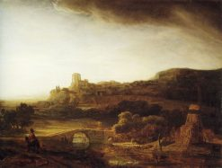 River Landscape with a Windmill | Rembrandt van Rijn | Oil Painting