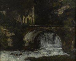 Molen bij brug over de bron van de Loue (Bridge by a Waterfall) | Gustave Courbet | Oil Painting