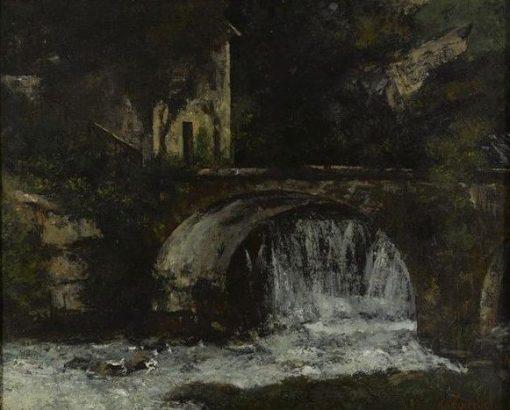 Molen bij brug over de bron van de Loue (Bridge by a Waterfall)   Gustave Courbet   Oil Painting