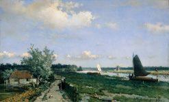 Dutch Canal Scene at Rijswijk | Johan Hendrik Weissenbruch | Oil Painting
