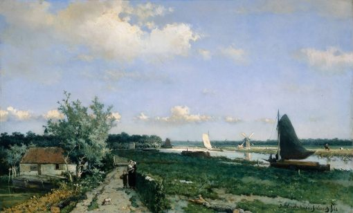 Dutch Canal Scene at Rijswijk | Johan Hendrik Weissenbruch | Oil Painting