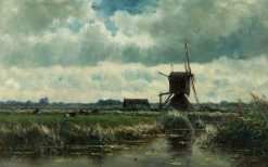 Polder Landscape with Windmill near Abcoude wikidata:Q24050742 | Willem Roelofs | Oil Painting