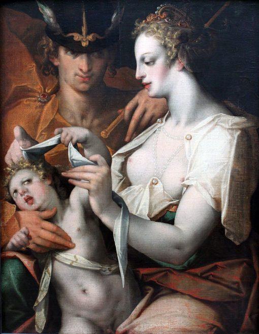 Venus and Mercury Blindfold Cupid   Bartholomaeus Spranger   Oil Painting