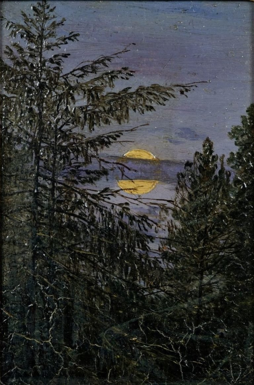 Fir Trees in Moonlight   Carl Gustav Carus   Oil Painting