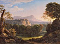Italian Landscape with a Castle at Bergrucken | Johann Christian Reinhart | Oil Painting