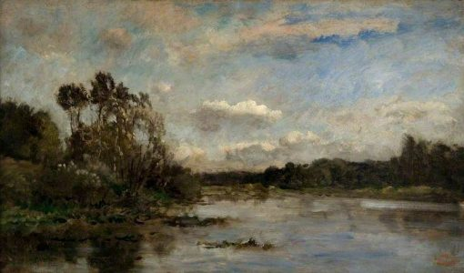 River Scene with Wooded Banks   Charles Francois Daubigny   Oil Painting