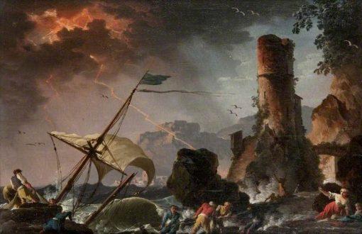 A Storm | Charles Francois Grenier de Lacroix | Oil Painting
