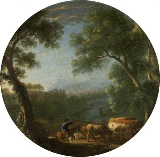 Wooded Landscape with a Horseman Driving Cattle | Herman van Swanevelt | Oil Painting