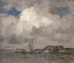 River Scene with a Storm Cloud | Jacob Maris | Oil Painting