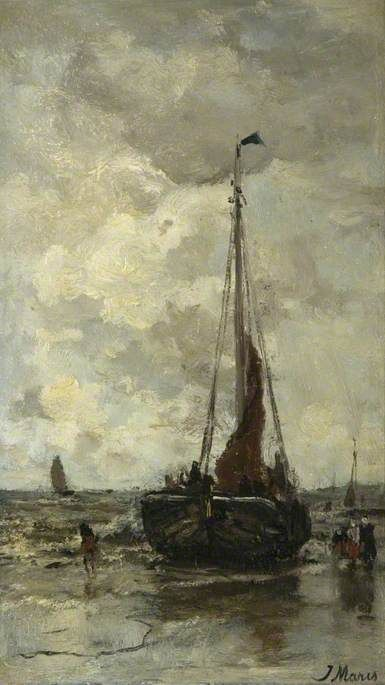 Beach Scene with a Grounded Boat | Jacob Maris | Oil Painting