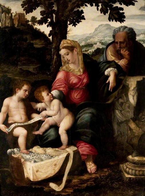 The Holy Family and Saint John the Baptist under an Oak Tree (after Raphael) | Jan van Scorel | Oil Painting