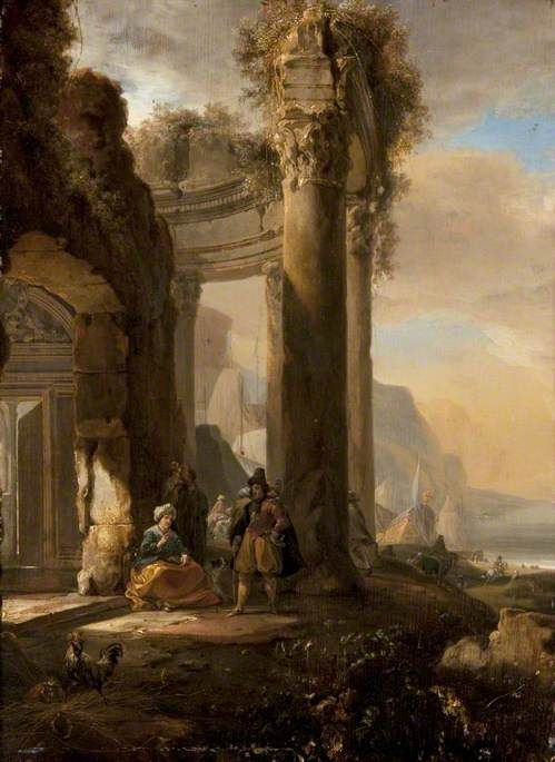 A Ruined Colonnade and Figures by a Harbour | Jan Weenix | Oil Painting