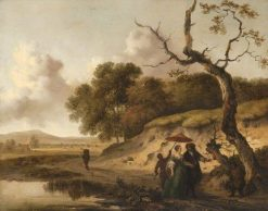 Landscape in Dunes with a Married Couple | Jan Wijnants | Oil Painting