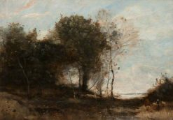 Wooded Landscape with Figures | Jean Baptiste Camille Corot | Oil Painting