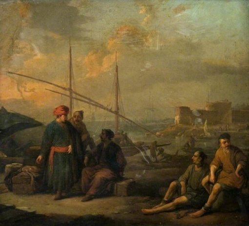 A Harbour with Figures in Oriental Costume | Johannes Lingelbach | Oil Painting