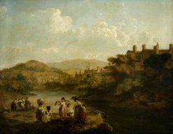 Women Washing Clothes in a Welsh Stream   Julius Caesar Ibbetson   Oil Painting