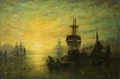 Sunset with Boats | William Adolphus Knell | Oil Painting