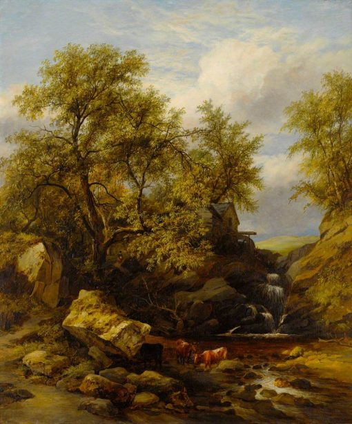 Rocky Landscape with Waterfall and Cattle | James Stark | Oil Painting