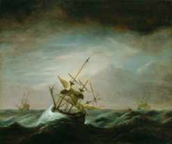 Dismasted Ship in Rough Sea | Willem van de Velde the Younger | Oil Painting