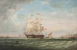 A Man-of-War and Other Shipping in Harbour | William Adolphus Knell | Oil Painting